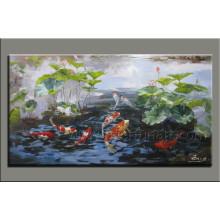 Pintura animal hecha a mano moderna del arte de los pescados de la pintura en lona (AN-066)