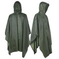 Vattentät Hooded PVC Army Raincoat Rain Poncho