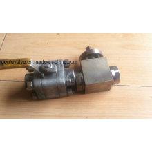 Robinet à tournant sphérique en acier forgé à haute pression de 3 PC (GQ11F)