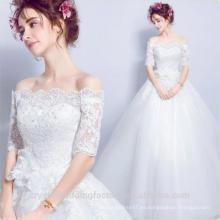 Robe De Mariage 2017 nueva moda de estilo blanco / marfil más tamaño maxi 1/2 vestido de boda de encaje de manga MW2204