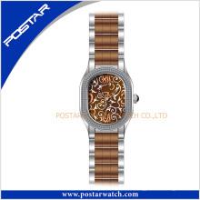 Mehrfarbenmode-Edelstahl-Uhr-Quarz-Uhr in IP-Brown-Überzug