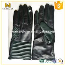 Fashion Black Mens Winter Dress Sheepskin Leather Gloves with Zipper