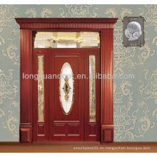 Puerta de madera de lujo del diseño del vidrio de la casa, entrada principal Puerta de madera del vidrio