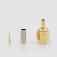 SMA Gold Plated Straight Crimp Macho (Plug) Para RG174 RG178 RG316 cabo