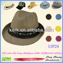 2013 Stylish Plain Brown Floral Chapéu de Palha de Papel Natural 100% Natural, LSP24