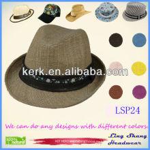 2013 Стильная простая коричневая цветочная лента 100% натуральная соломенная шляпка, LSP24