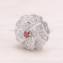 SEP029 DIY acessórios Camellia pingente de prata jóias Mulher colar de pingente bonito com Prata 925