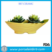 Hot Creative Yellow Ceramic Boat Planter