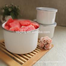 Pure color enamel high ice bowl metal enamel bowl white metal bowls