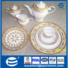 antique design and full patterned ceramic tableware dinner service porcelain utensils and plates