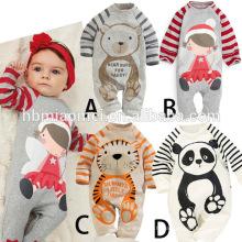 2016 vente chaude printemps automne bébé fille barboteuse panda imprimé coton unisexe bébé barboteuse en gros