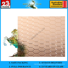 3-8mm Bronze Beedhive Patterned Figure Glass avec AS / NZS2208: 1996