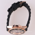 cool men silicone watch rose gold dial