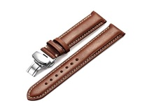 Brown Genuine Calfskin Leather Watch Band Strap