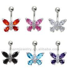 316L Chirurgischer Stahl 14 Guage Butterfly Navel Bauchnabel Ring Bar BER-005
