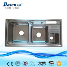fregadero de cocina popular del cuenco triple del estilo hecho del acero inoxidable AISI 304