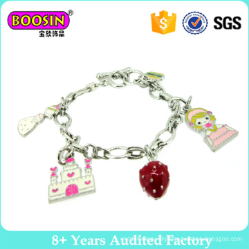 Lovely Silver Plated Charm Bracelet with Tower and Strawberry