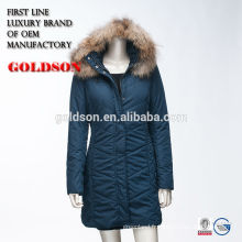 Russe Ourdoor Coton Long Coat Avec Luxe Raccoon Fur on Hood