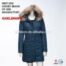 Casaco longo de algodão russo Ourdoor com pele de guaxinim de luxo no capuz