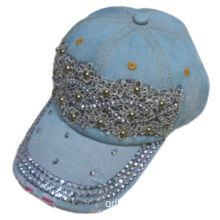 Washed Denim Cap with Rhonestone and Lace