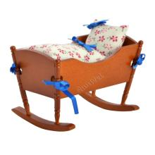 Dollhouse Miniature Wooden Bed For Child