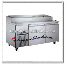 R097 2 puertas Fancooling acero inoxidable Pizza Counter