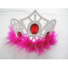 Feather Crown Tiara with Red Diamonds