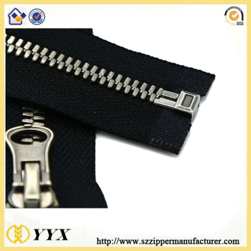 No5 Glänsande Silver Tenn Metal Zipper