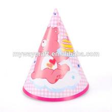 Chapéu de festa de papel feito à mão com padrão de desenho animado de alta qualidade