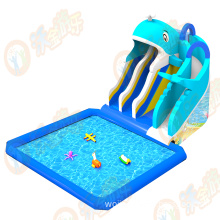 Inflatable water slide with swimming pool