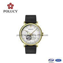 Factory Original Mechanical Watch Stainless Steel Case Genuine Leather Strap