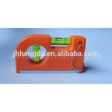 HD-MN14,mini plastic pocket ruler 3 vials,aluminum level