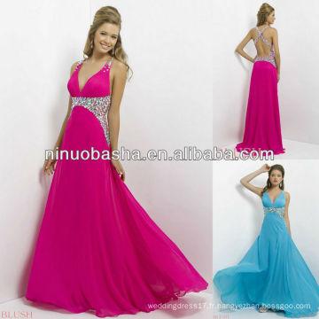 NW-452 Gorgeous Bijoux Surdimensionnés avec Crisscross Beaded Back Evening Dress Prom Gown 2014