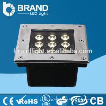 IP65 9X1W 4in1 LED Chips RGBW luz LED cuadrado subterráneo con DMX512 modo