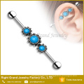 Triple Vintage Semi Precious Turquoise Surgical Steel Industrial Barbell