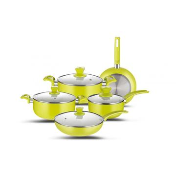 9pcs Ceramic Coating Alumínio Cookware Set