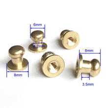 Rivets en laiton brut Screw Back 8mm Height