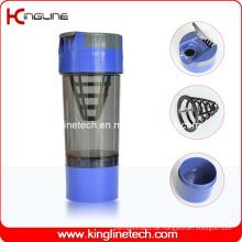 600ml Plastik-Protein-Shaker-Flasche mit Filter und Behälter (KL-7008)