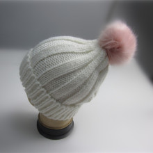 Wholesale Pink Pompom Rib Knit Toque