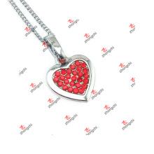 Nouveaux Styles Collier en chaîne à bijoux en or coeur rouge en cristal (LAS60128)