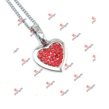 New Styles Red Crystal Heart Charms Jewelry Chain Necklace (LAS60128)
