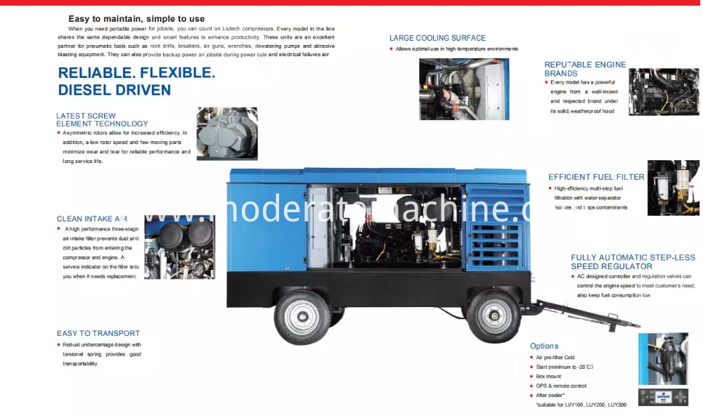 well drilling rig Portable diesel air compressor China