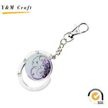 Gancho dobrável personalizado do saco de cristal da bolsa do metal do presente da promoção