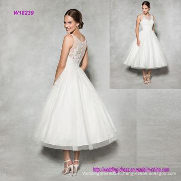 Винтажный Стиль чай длины свадебное платье с украшенные кружевом