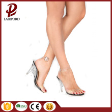 slope-heel PVC white summer sandals for ladies