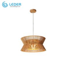 Lampe à suspension réglable en bois LEDER