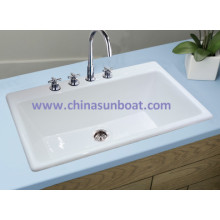 Sunboat Household Cast Iron Kitchen Sink Rectangular Single Slot Enamel Sink
