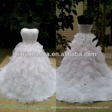 СЗ-427 милая декольте с рюшами юбка с бисером Талия свадебное платье 2013