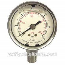 Medidor de baixa pressão de aço inoxidável mbar