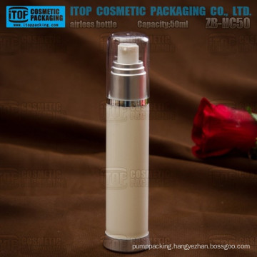 ZB-HC50 50ml modern slim round glossy finish smooth and clean empty cosmetics plastic cosmetic